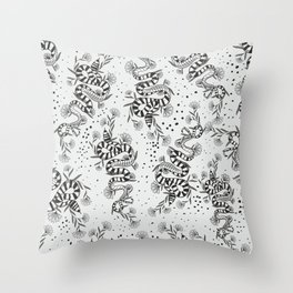 Snake Floral  Throw Pillow