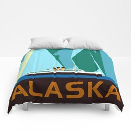 Alaska Taku Glacier retro vintage style travel Comforters
