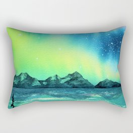 """""""Northern Lights"""" watercolor landscape painting Rectangular Pillow"""