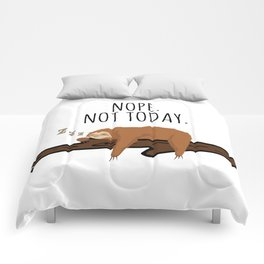 Nope. Not Today! Funny Sleeping Sloth On A Branch Gift Comforters