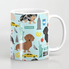 Dachshund dog breed NYC new york city pet pattern doxie coats dapple merle red black and tan Coffee Mug