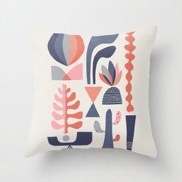 Mid century Succulents Throw Pillow