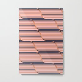 Geo Stripes - Navy & Neutral Metal Print