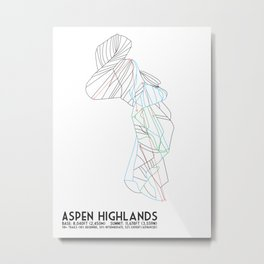 Aspen Highlands, CO - Minimalist Trail Map Metal Print