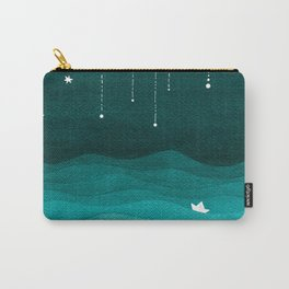 Falling stars, sailboat, teal, ocean Carry-All Pouch