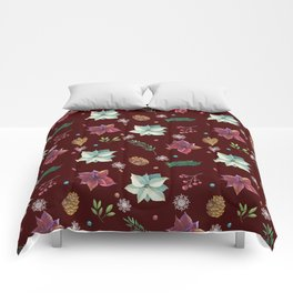 Colorful Christmas Red White Poinsettia Pine Cones Snowflakes Comforters