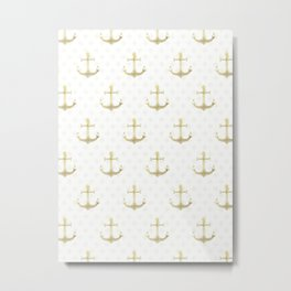 Golden Anchors Metal Print