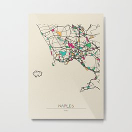 Colorful City Maps: Naples, Italy Metal Print