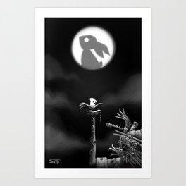 Rabbit on the moon Art Print