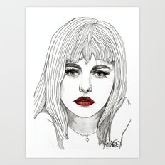 Patsy with Red Lips Art Print