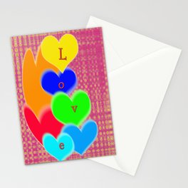 coloured love hearts Stationery Cards