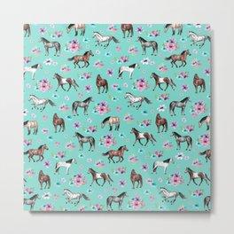 Hand drawn horses, Flower horses, Floral Pattern, Aqua Blue Metal Print