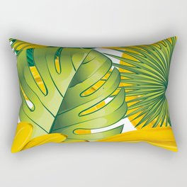 Tropical leaves decor bananas print forest interior palm Rectangular Pillow