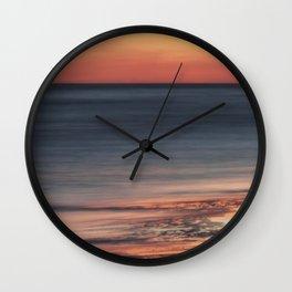 Fiery Sunset Over Galveston Beach Texas Wall Clock
