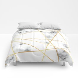 Stone Effects White and Gray Marble with Gold Accents Comforters