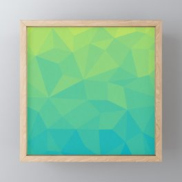 Abstract Geometric Gradient Pattern between Soft Green and Strong Cyan Framed Mini Art Print