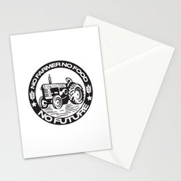 No Farmer No Food No Future Support Agriculture We Stand With Farmers Farmers Ends World Ends Tractor Black Stationery Cards