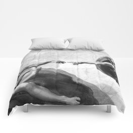 Black and White Creation of Adam Painting by Michelangelo Sistine Chapel Comforters
