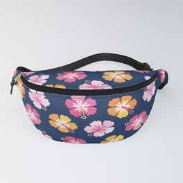 CANDY COLORED HIBISCUS on NAVY Fanny Pack