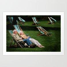 Elderly Couple in Victoria Tower Gardens  Art Print