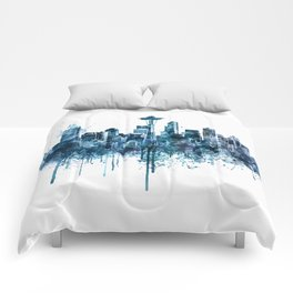 Seattle Skyline monochrome watercolor Comforters