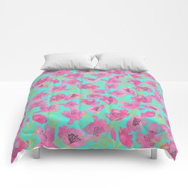 Pink Floral seamless Pattern Comforters