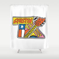 austin Shower Curtains featuring Austin TX by Brandon Ortwein