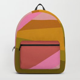 Colorful Geometric Abstract in Pink, Mustard, and Green Backpack