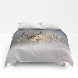 Santa Claus Reindeer in the snow Comforters