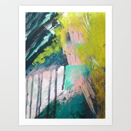 Melt: a vibrant abstract mixed media piece in blues, greens, pink, and white Art Print