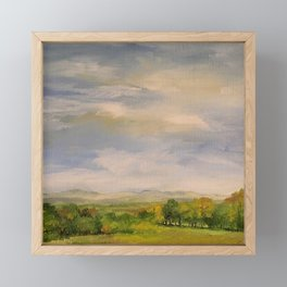 Scenic Autumn Late Afternoon in Vermont Nature Art Landscape Oil Painting Framed Mini Art Print