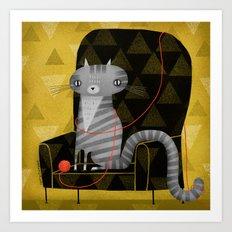 SEATED GRAY TABBY Art Print