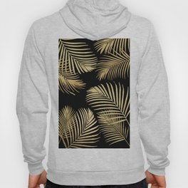 Gold Palm Leaves on Black Hoody