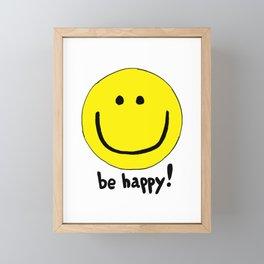 Be Happy Smiley Face Framed Mini Art Print