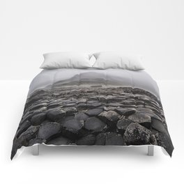 Early foggy morning in the land of hexagonal stones Comforters