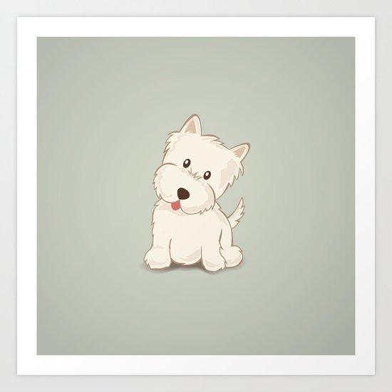 Westie Dog Illustration Art Print