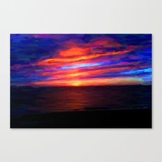 Sunset by the sea - Painting Style Canvas Print