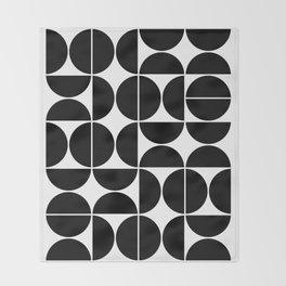 Mid Century Modern Geometric 04 Black Throw Blanket