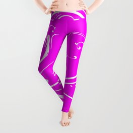White Floral Butterfly Pattern On Pink Background Leggings