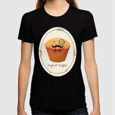English Muffin SMALL Womens Fitted Tee Black