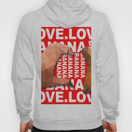 Love Heart One Hand with Banana Food Fruit Red Background Design Illustration Hoody