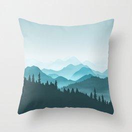 Teal Mountains Throw Pillow