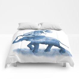 Blue Smoky Clouded Elephant Comforters