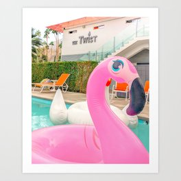 Pink Flamingo Pool Floatie at The Twist Art Print