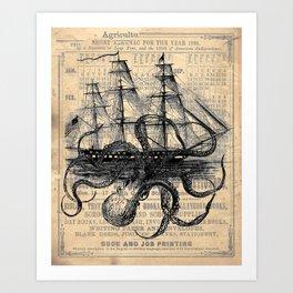 Octopus Kraken attacking Ship Antique Almanac Paper Art Print