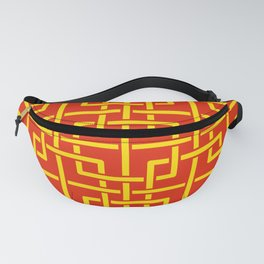 Tangled squares Chinoiserie in Chinese flag's colors Fanny Pack