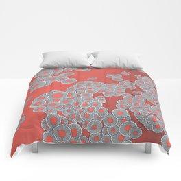 Wild Mushrooms in Living Coral Comforters