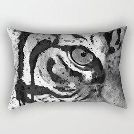 Black And White Half Faced Tiger Rectangular Pillow