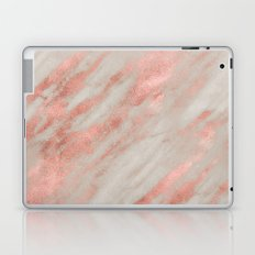 Marble Rose Gold Marble Foil on White iPhone Case and Throw Pillow Design Laptop & iPad Skin