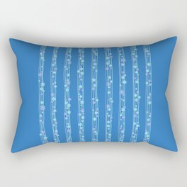 Ditsy Stripe in Blues Rectangular Pillow
